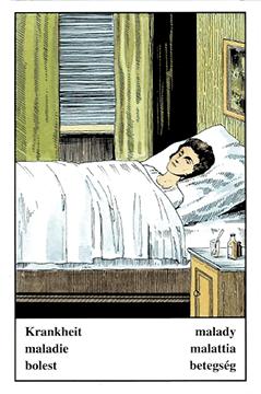 """Motiv der Zigeunerkarte """"Krankheit"""""""